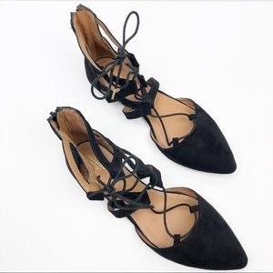 Mossimo Lace Up Point Slip On Flats Shoe Black 7.5